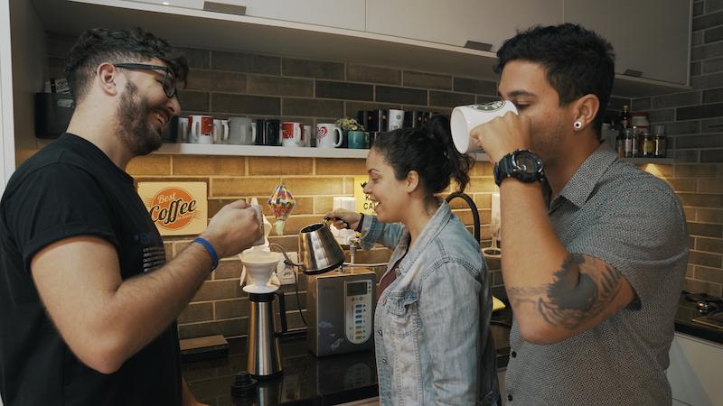 Equipe da IGD tomando café
