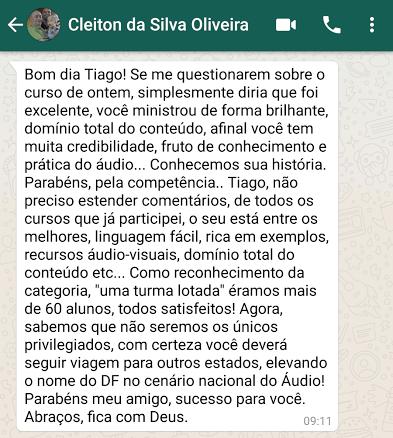 Depoimento do Cleiton Oliveira