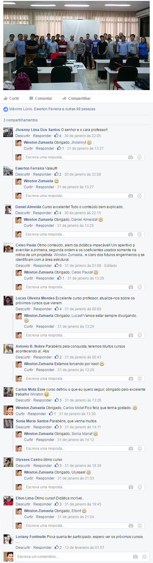 Comentários no facebook